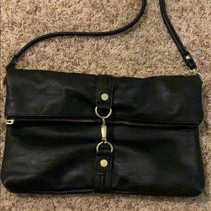 Steve Madden Black Leather and Gold  Crossbody Bag